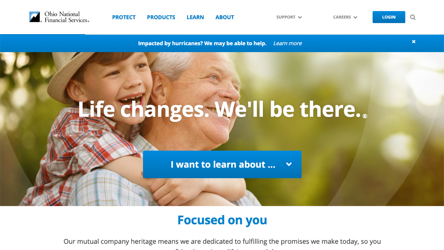 Ohio National Financial Services Website Homepage Cincinnati Custom Website Development