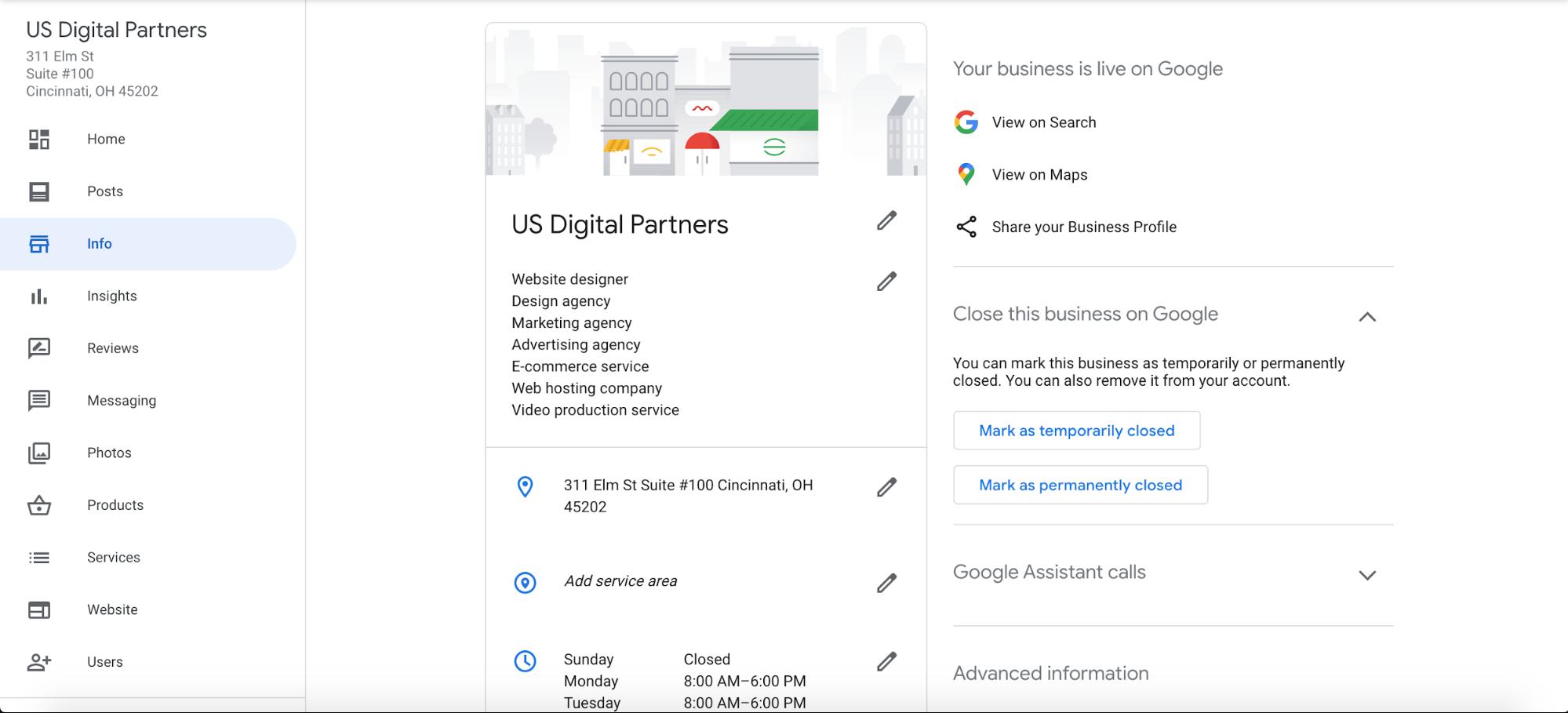 screenshot of Google My Business Info page