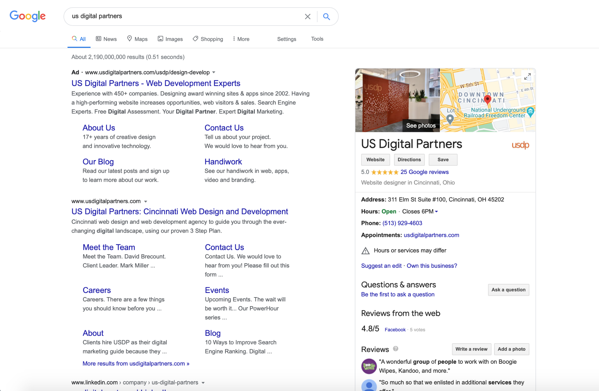 Google search result for US Digital Partners