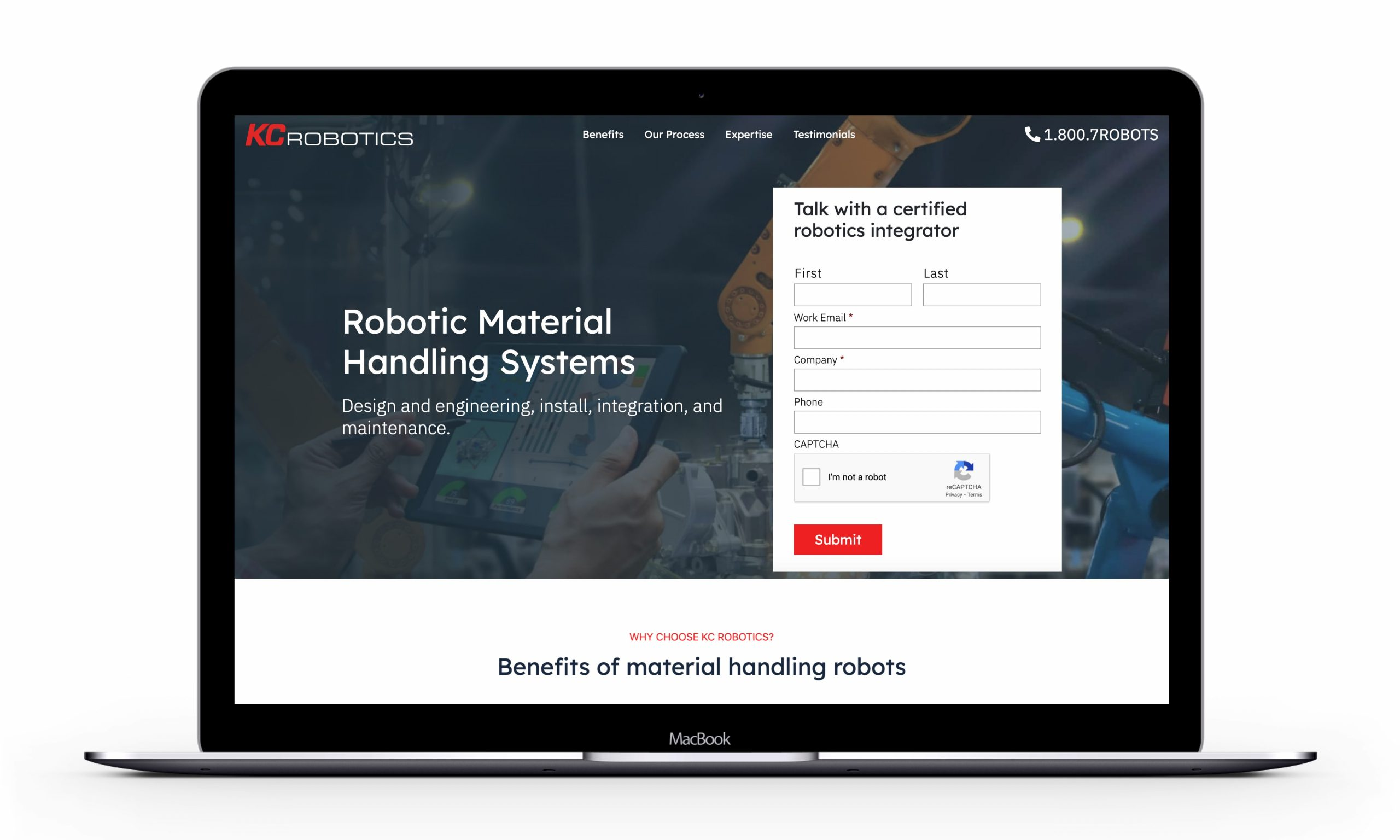 KC Robotics hero in landing page designed to convert