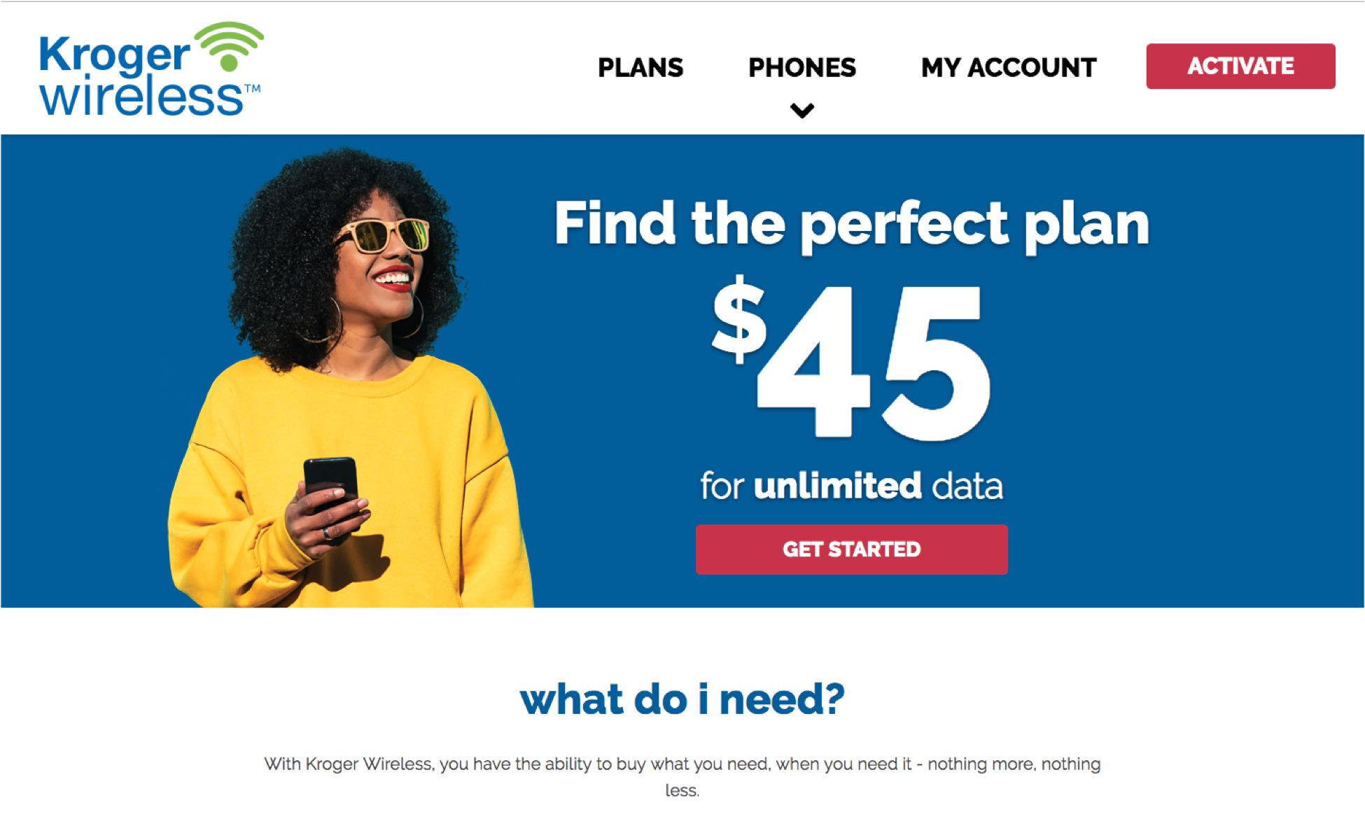 Kroger Wireless homepage