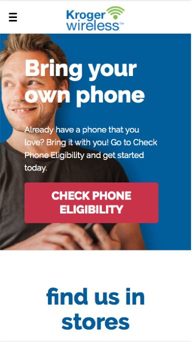 Mobile screen capture of Kroger Wireless site