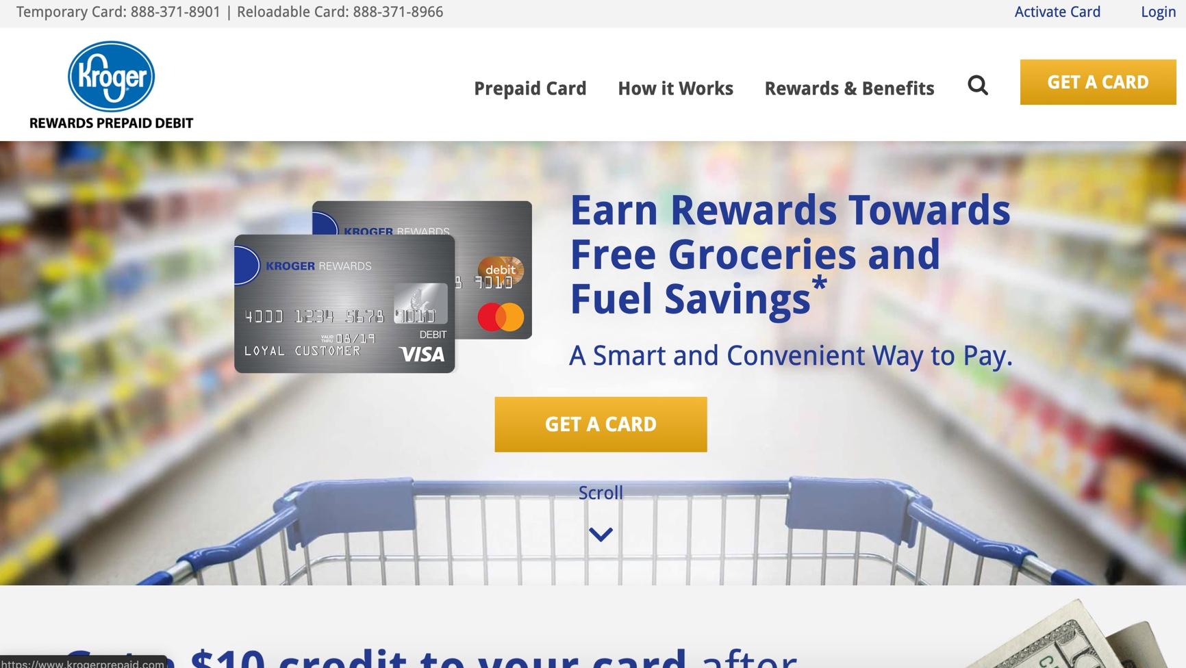 Screenshot of Kroger Prepaid website
