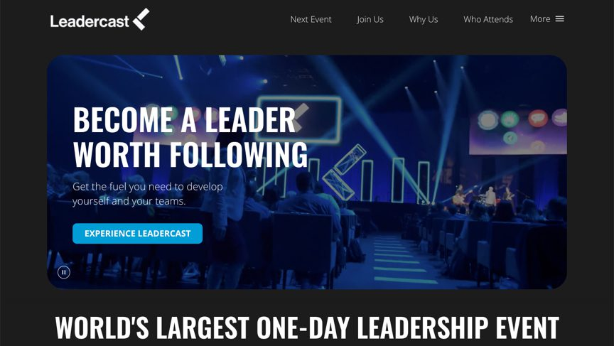 Leadercast homepage on desktop