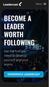 Leadercast homepage on mobile