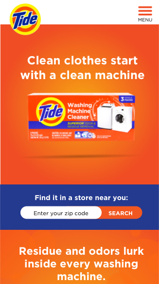 Tide mobile website screenshot