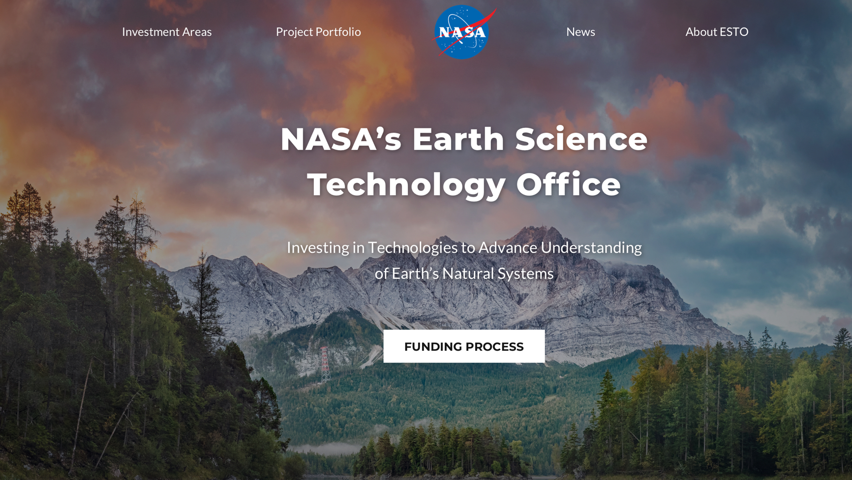 NASA esto website homepage
