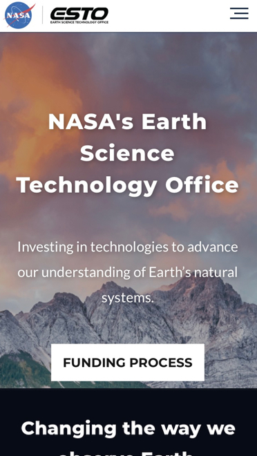 NASA Esto website on a mobile device