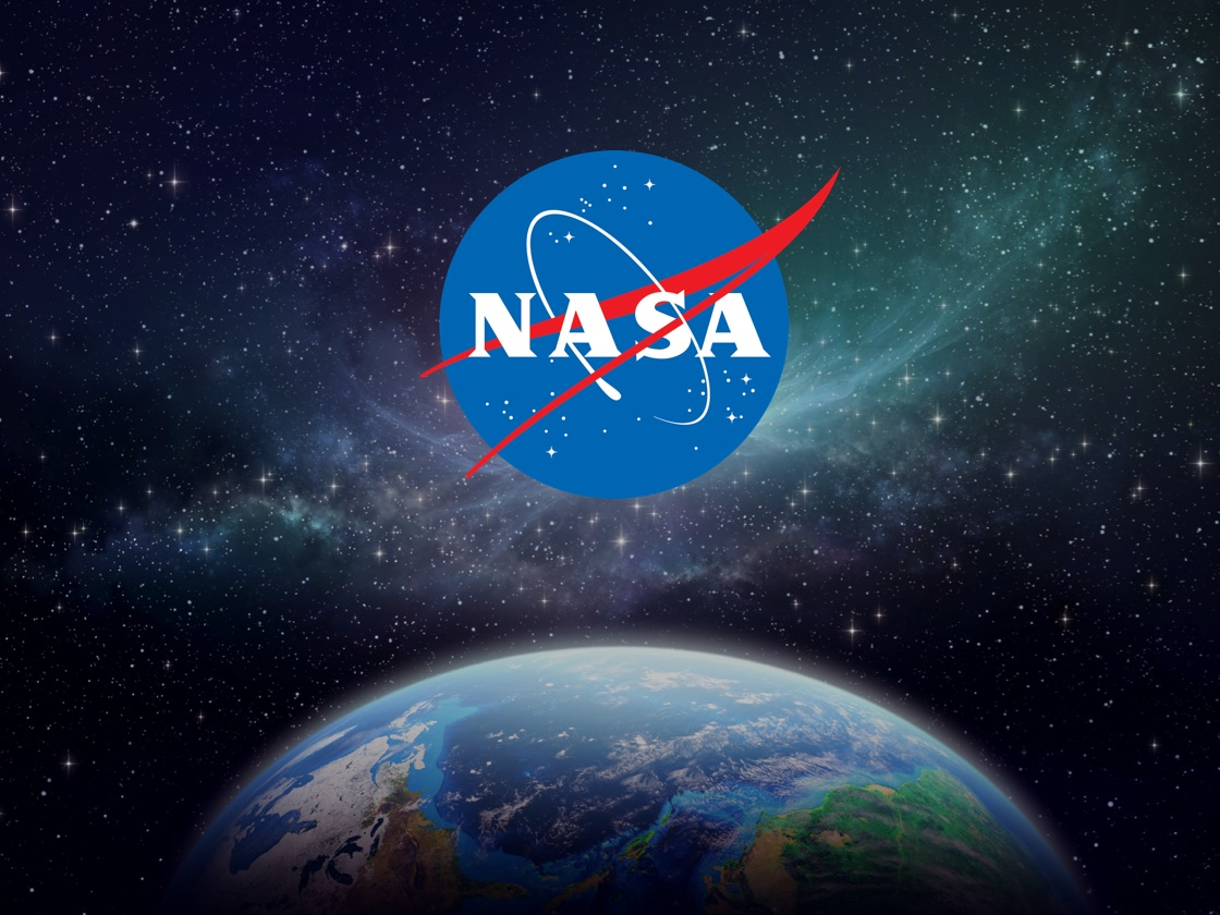 NASA logo with view of Earth from outer space in the background.