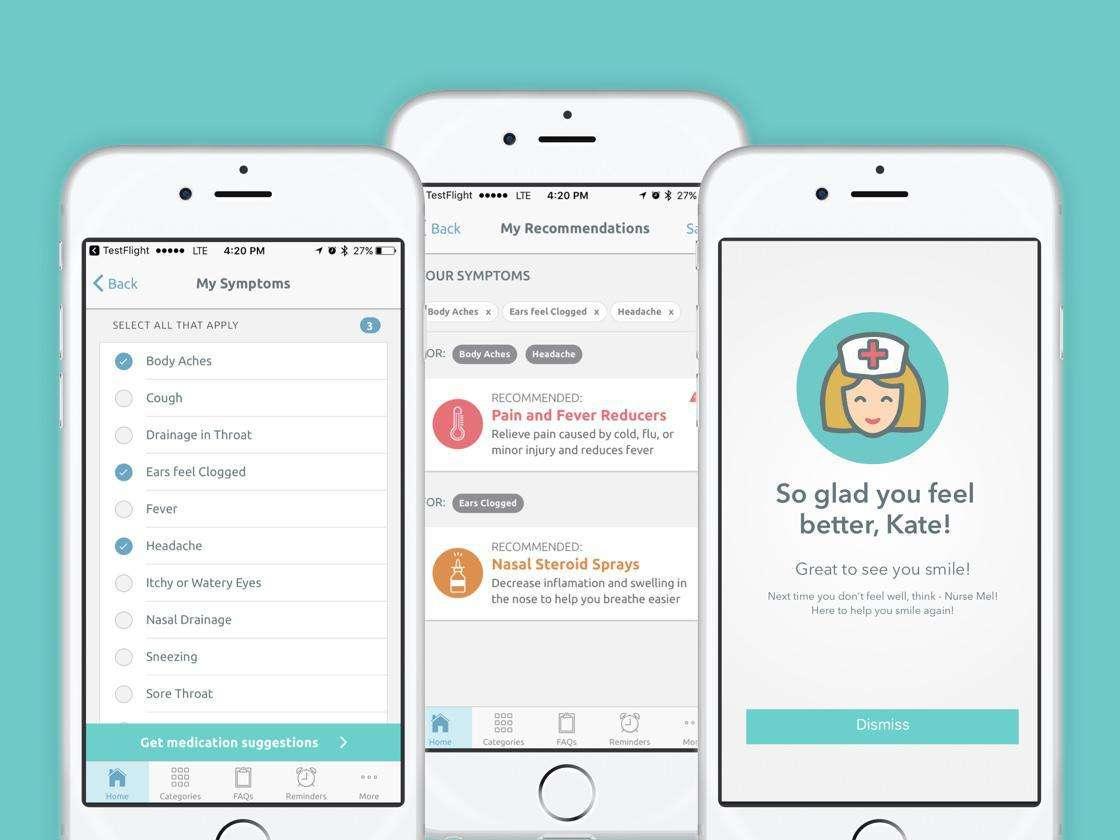 Nurse Mel app mockup on three iPhones