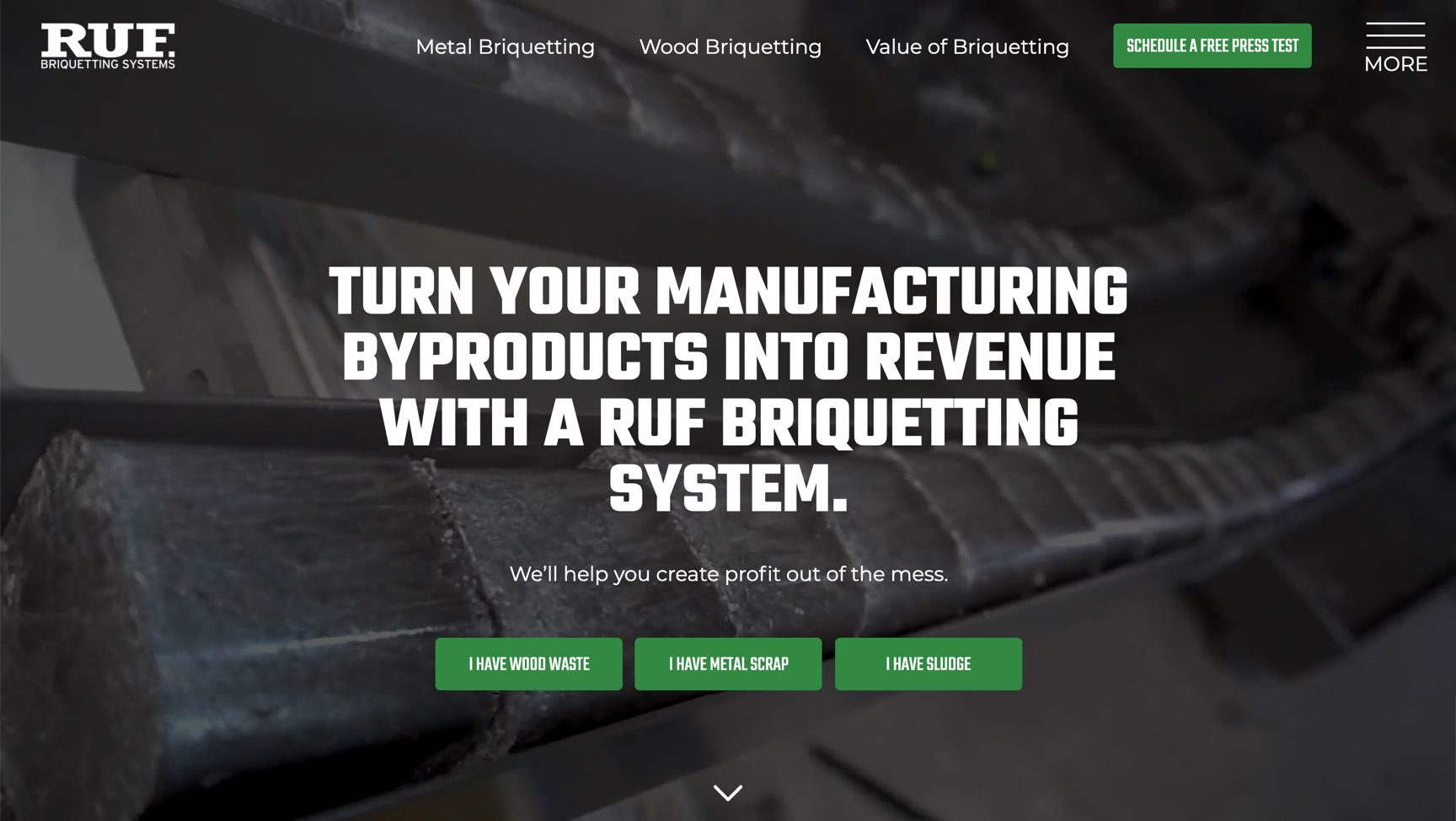 RUF Briquetting homepage