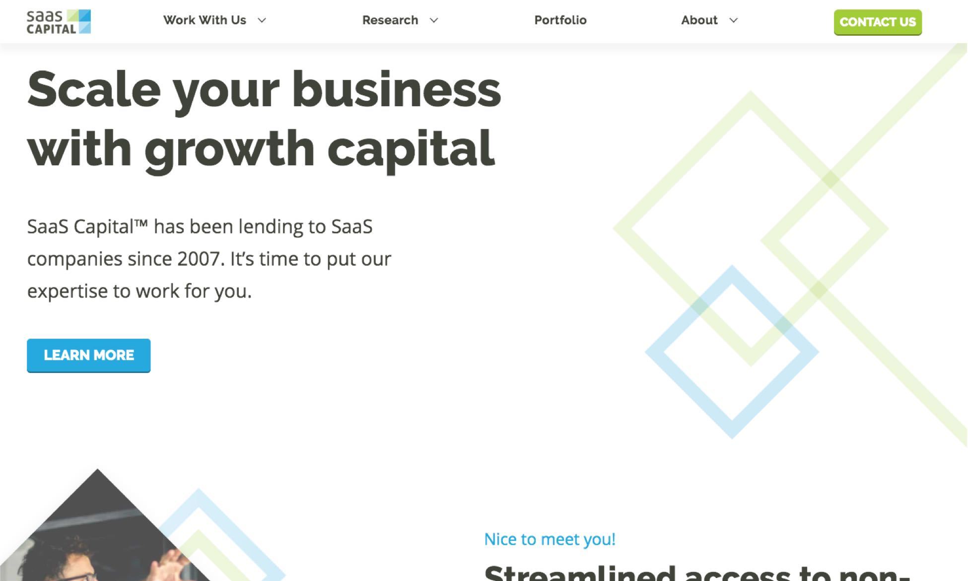 Image of SaaS Capital homepage
