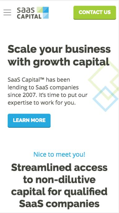 Image of SaaS Capital mobile responsive site