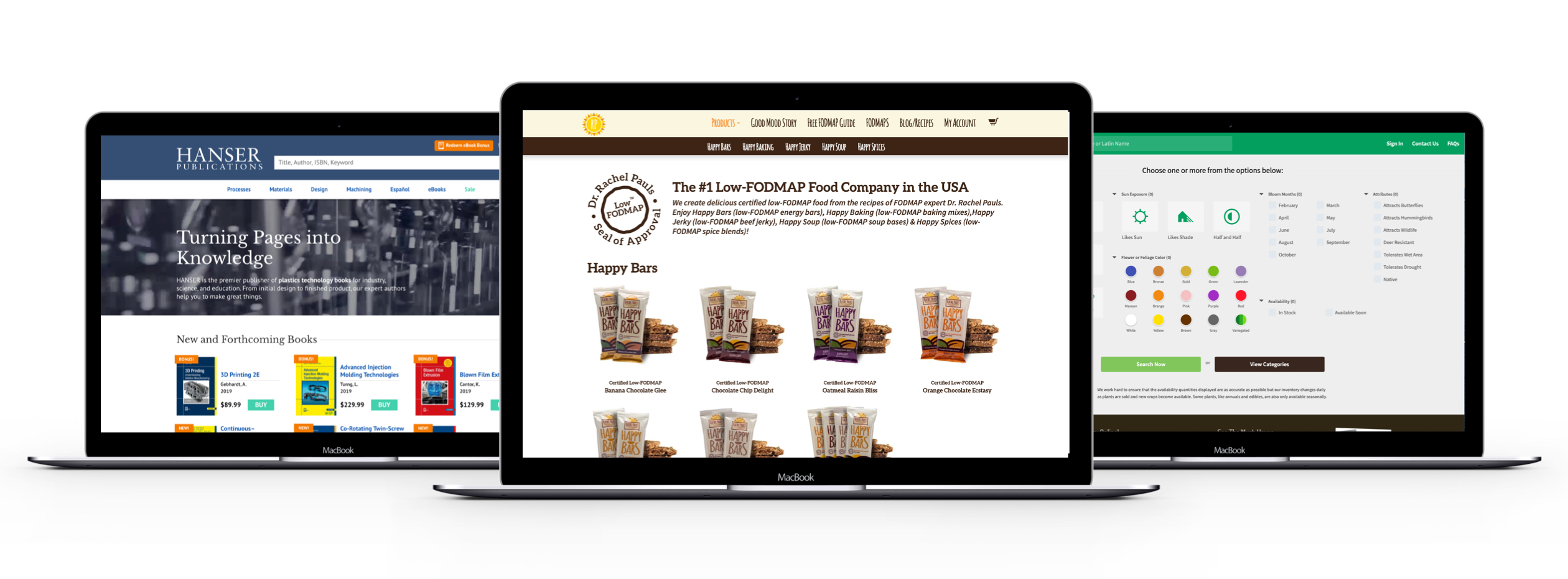 dtc ecommerce website examples from Hanser, Rachel Pauls, and Natorps