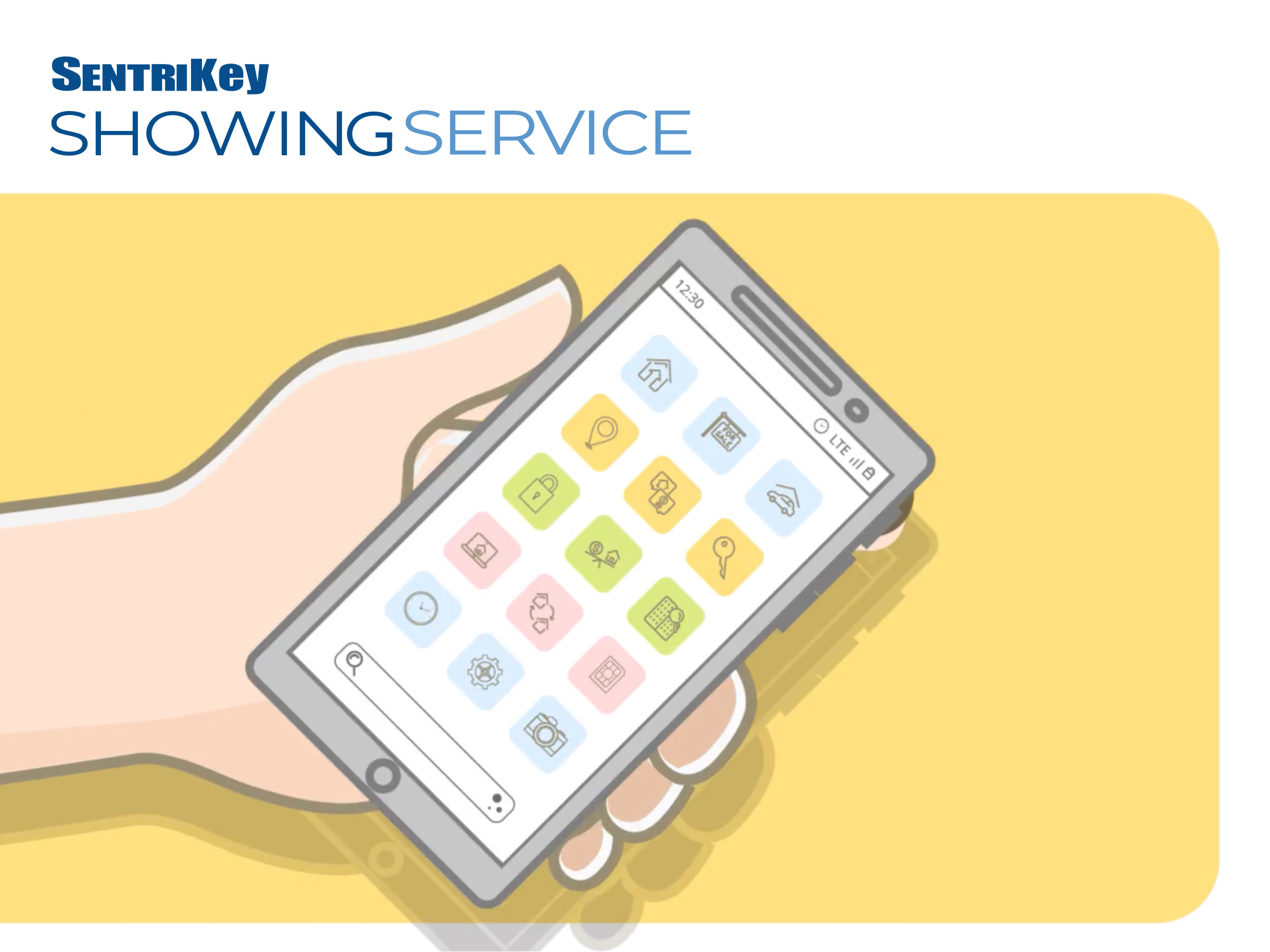 Sentrikey Showing service app illustration of a hand holding an iphone