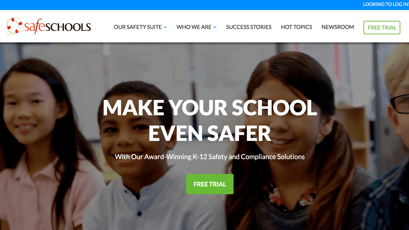 safe schools website desktop view