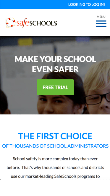 safe schools website mobile view