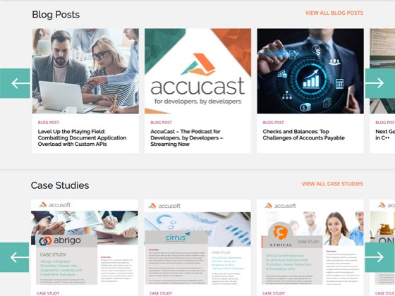 Image of Accusoft webpage with Case Study and Blog Post listings.