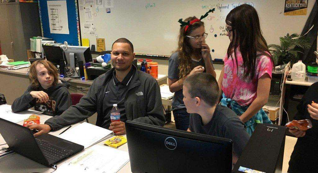 Vince Evans volunteering for RA Jones Middle School's 3D Printer Club