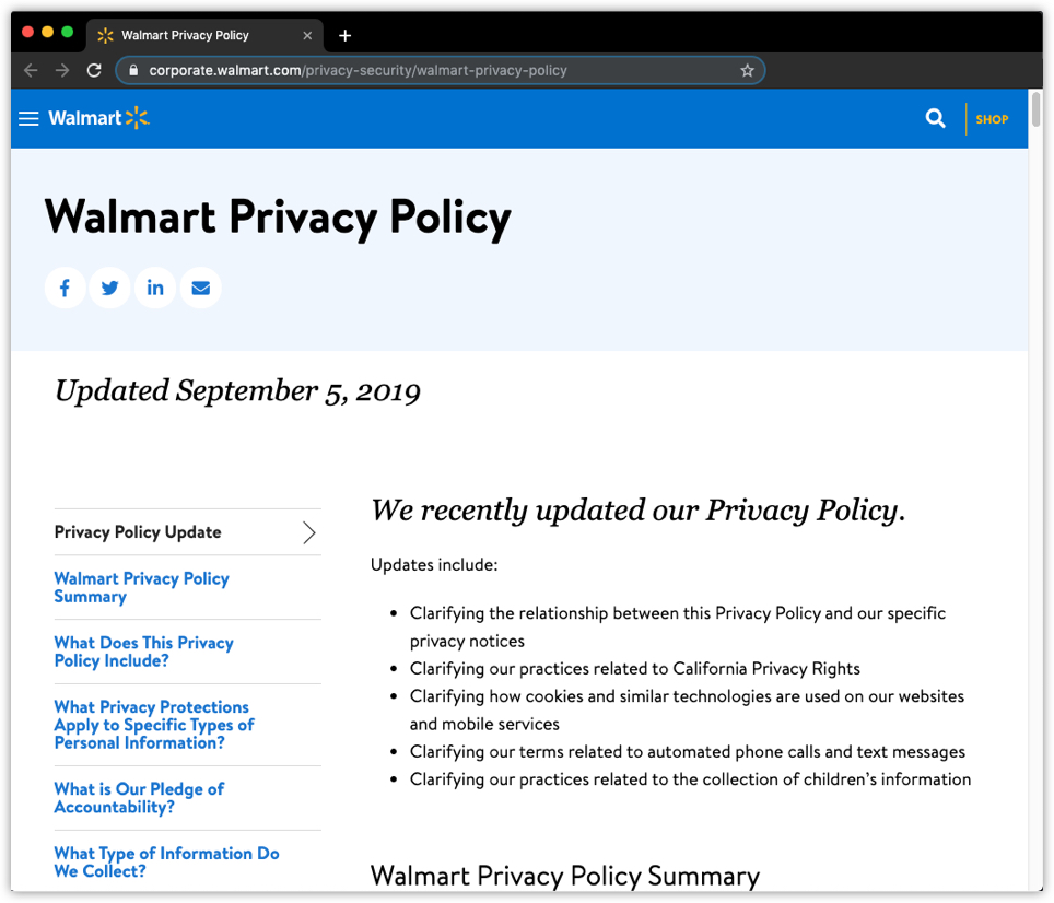 Walmart privacy policy example