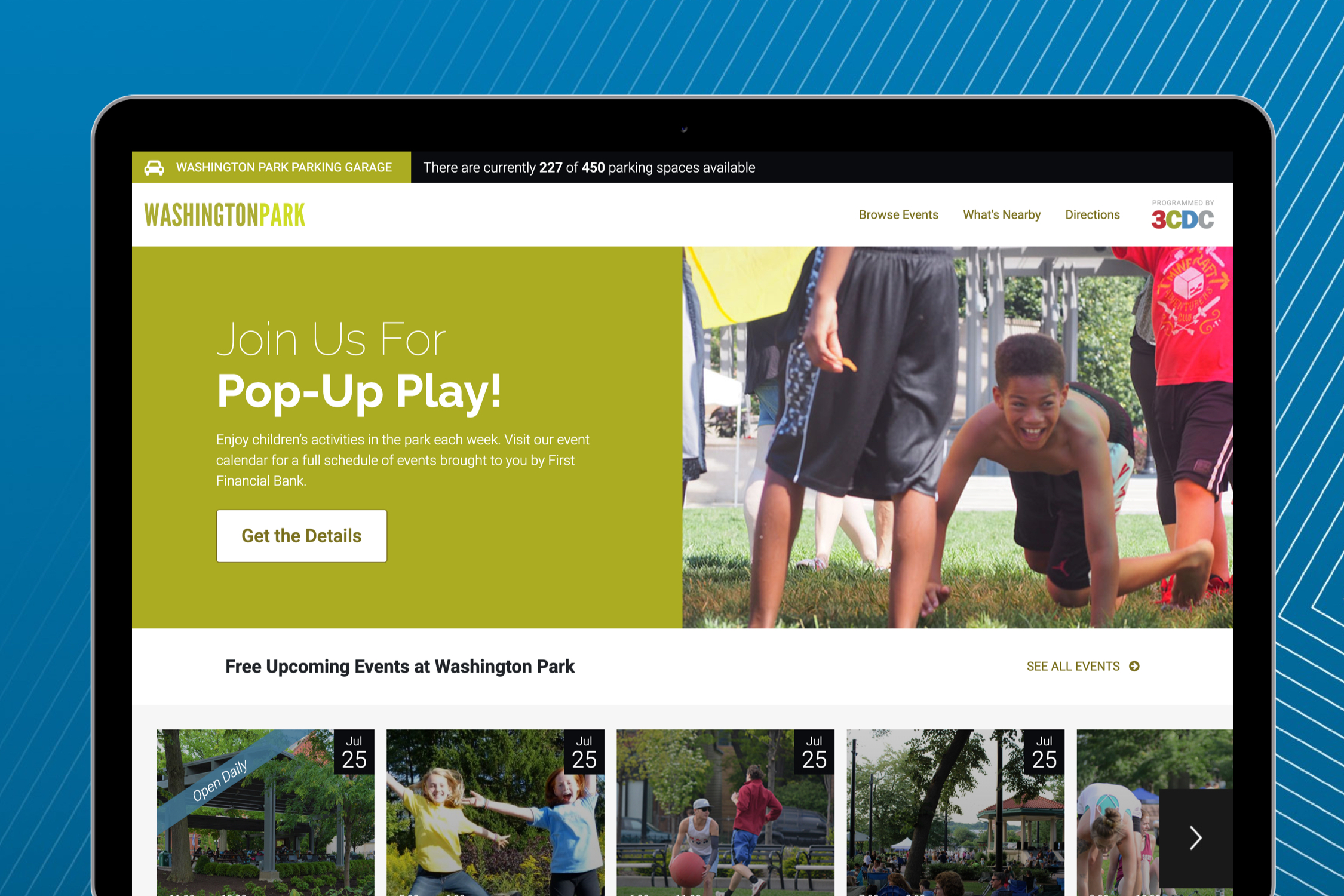 Mockup of Washington Park's website homepage
